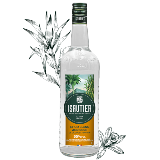 White agricultural rum 55%vol
